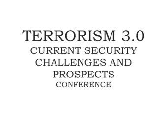 Terrorism 3.0 — Current Security Challenges And Prospects (Registration)